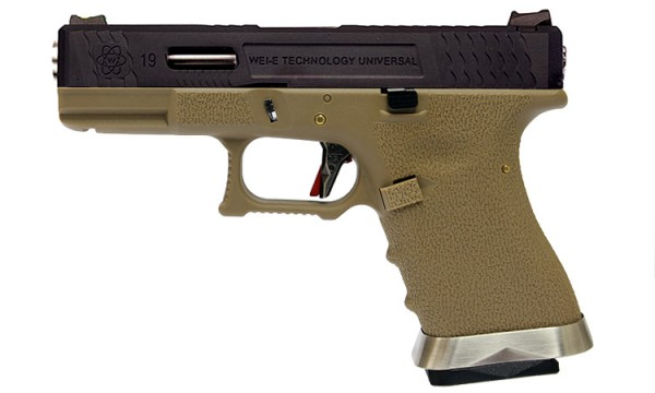 WE E-Force EU G19 Tan (Black Slide / Silver Barrel)