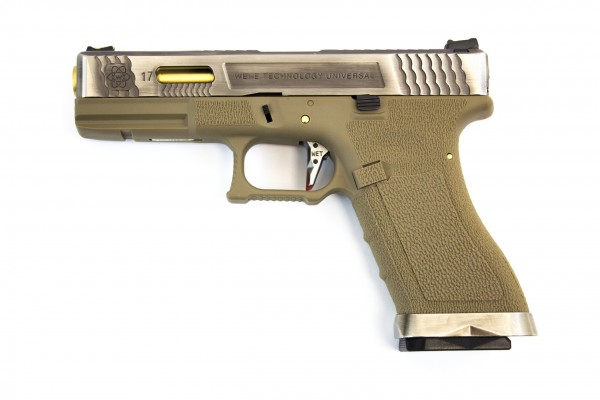 WE E-Force EU Glock 17 Tan - Silver Slide / Gold Barrel