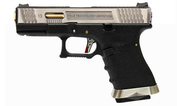 WE E-Force EU G19 Black (Silver Slide / Gold Barrel)
