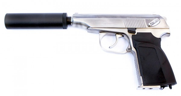 WE Makarov 654K with Silencer (Silver)