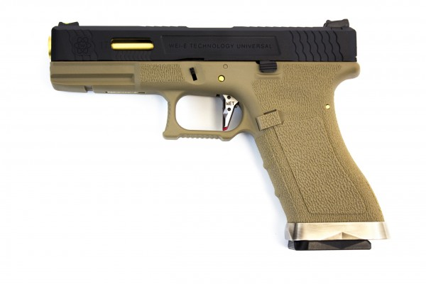 WE E-Force EU Glock 17 Tan - Black Slide / Gold Barrel