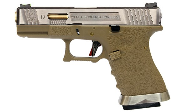 WE E-Force EU G19 Tan (Silver Slide / Gold Barrel)