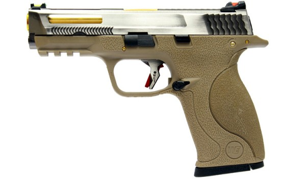 WE N&P XW40 E-Force Vented (FDE) Silver Slide / Gold Barrel
