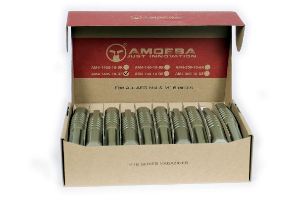Ares Amoeba M4 Magazine Nylon Box Set (10) 140rd Tan