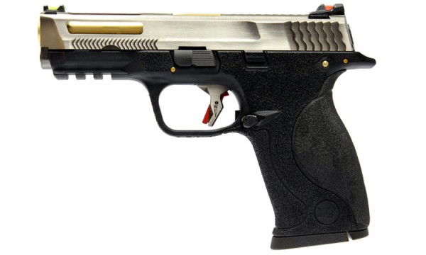 WE N&P XW40 E-Force Vented (Black) Silver Slide / Gold Barrel