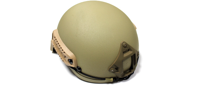 A.S.I. Tactical Helmet w/ NVG mount and Side Rail DE