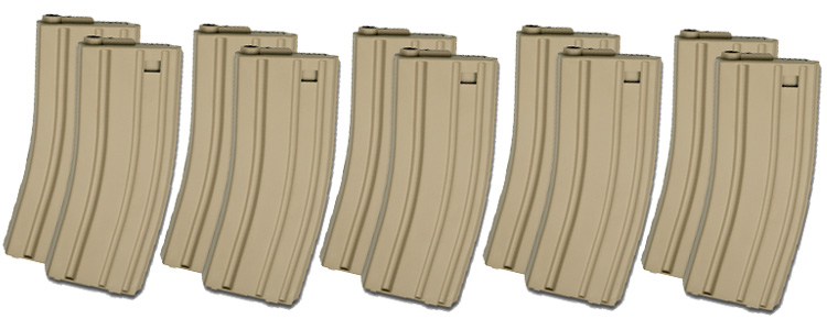 ASG M4/M16 85rd Box Set Of 10 (Tan)